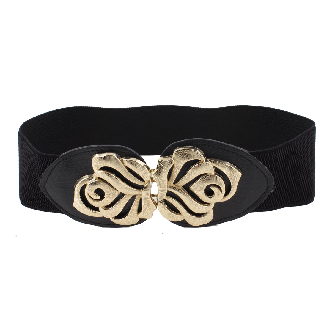 Metal Interlock Buckle Flower Detail Stretchy Waistband Belt Black for Lady