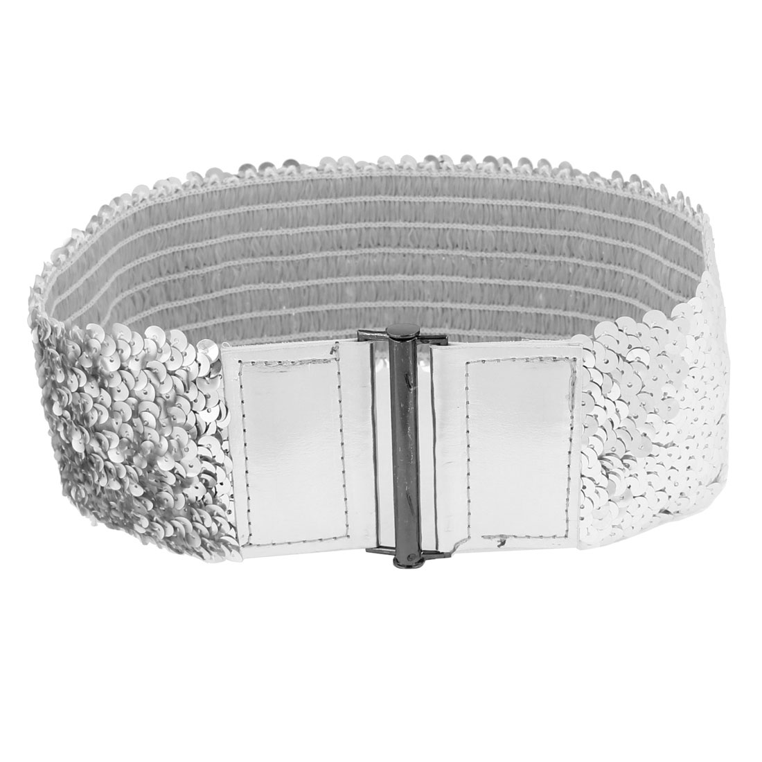 Women Sequin Decor Faux Leather Flexible Waist Cinch Belt Waistbelt Silver Tone