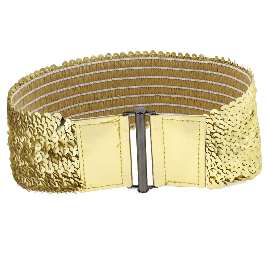 Sequin Decor Interlocking Buckle Waist Belt Waistband Gold Tone for Ladies