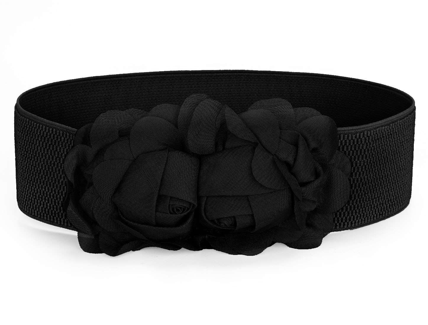 Faux Leather Elastic Fabric High Waistband Waistbelt Cinch Waist Belt Black for Lady