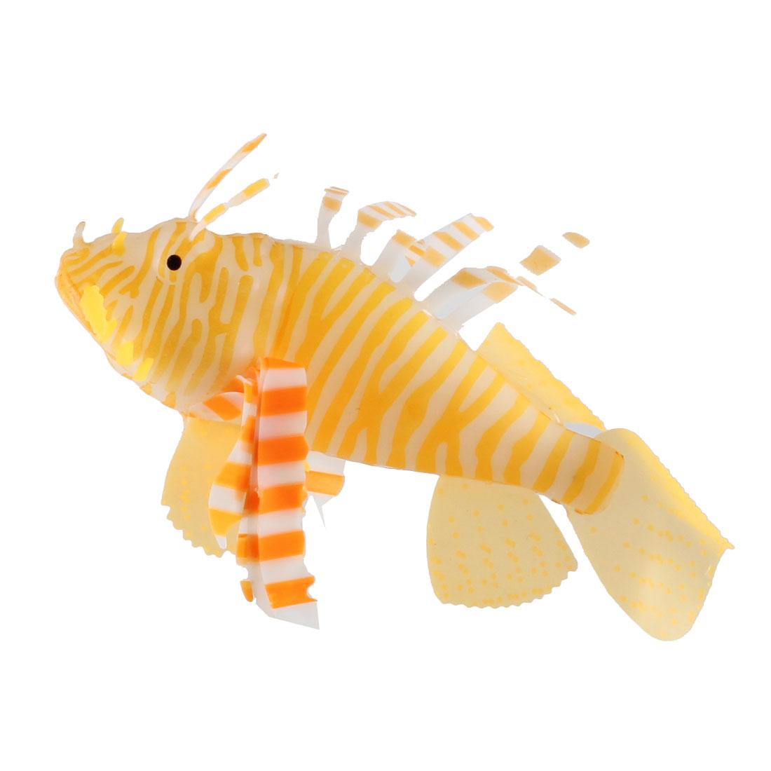 Aquarium White Orange Plastic Swing Tail Tropical Fish Decor w Suction Cup