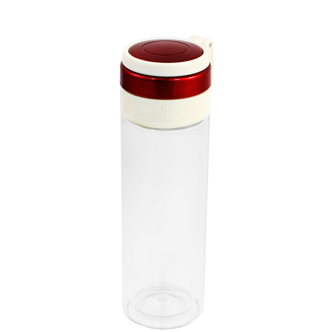 Outdoor 500ml Red Clear Cylinder Water Cup Holder Bottle w Strainer