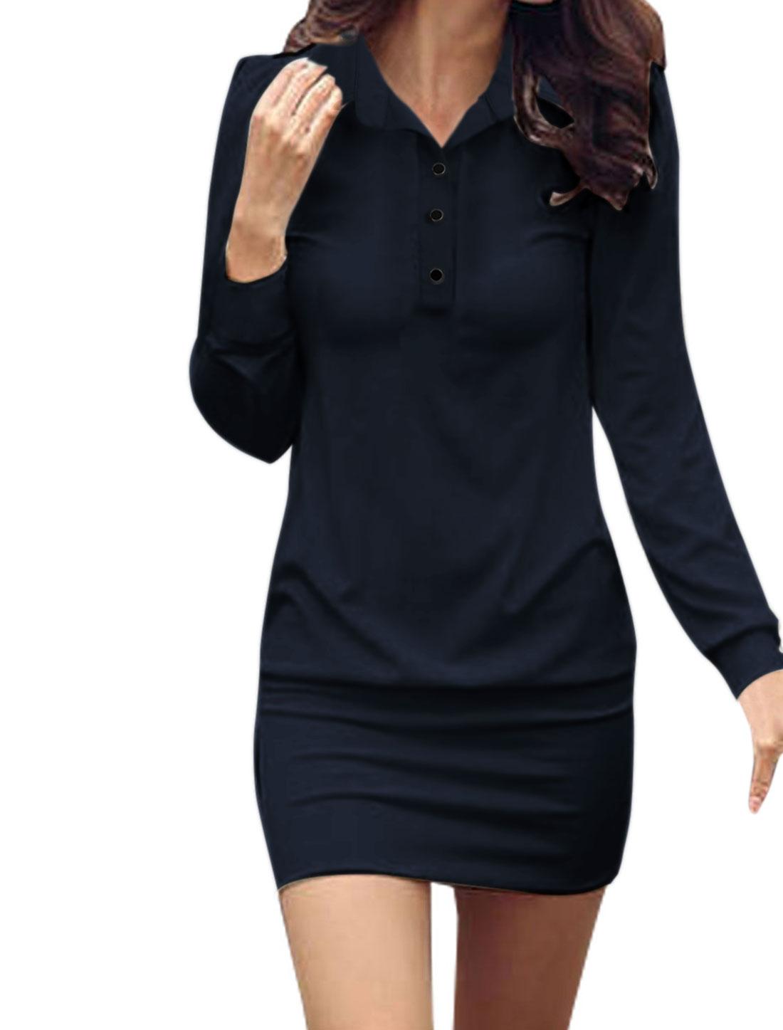 Women Point Collar Button Upper Long Sleeves Mini Dress Dark Blue L