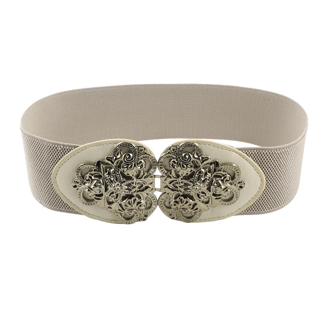Faux Leather Interlock Buckle Stretch Gray High Waist Belt for Women