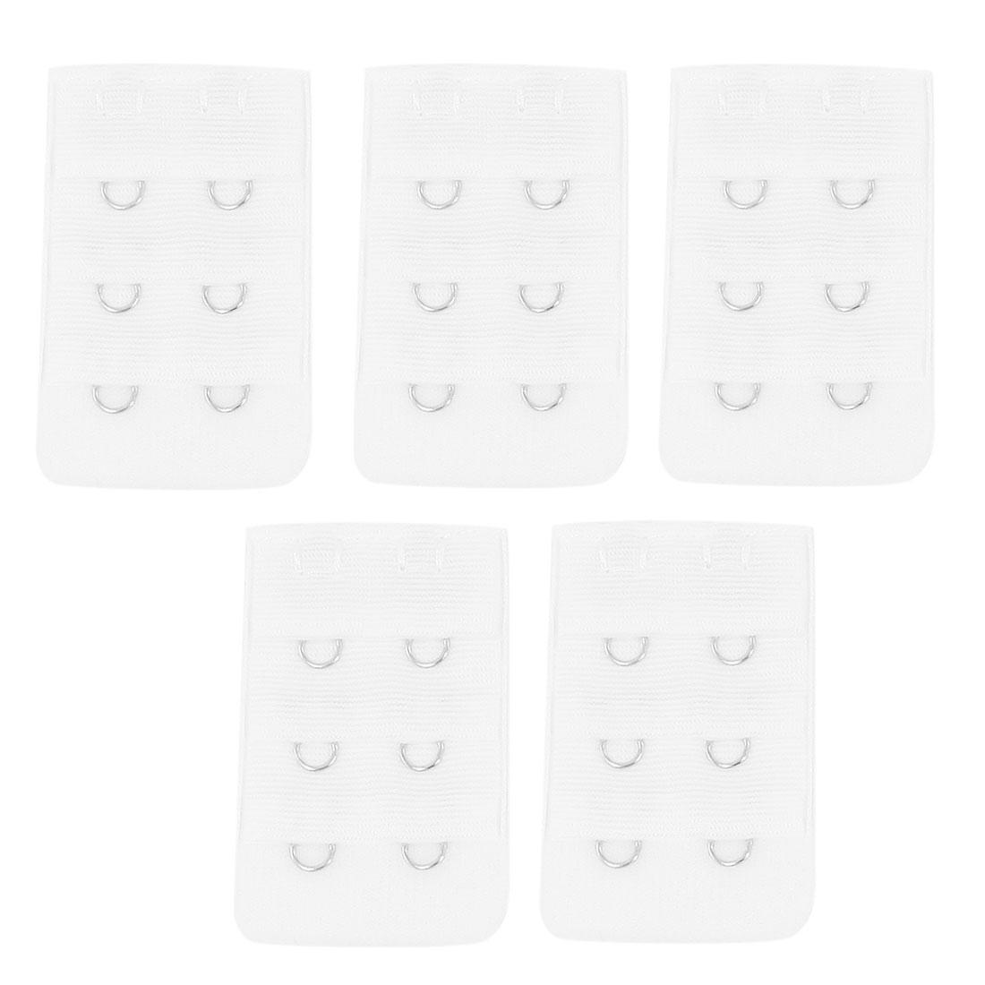 5 Pcs Women 3 Row Hook and Eye Tape Extension Bra Strap Extender White