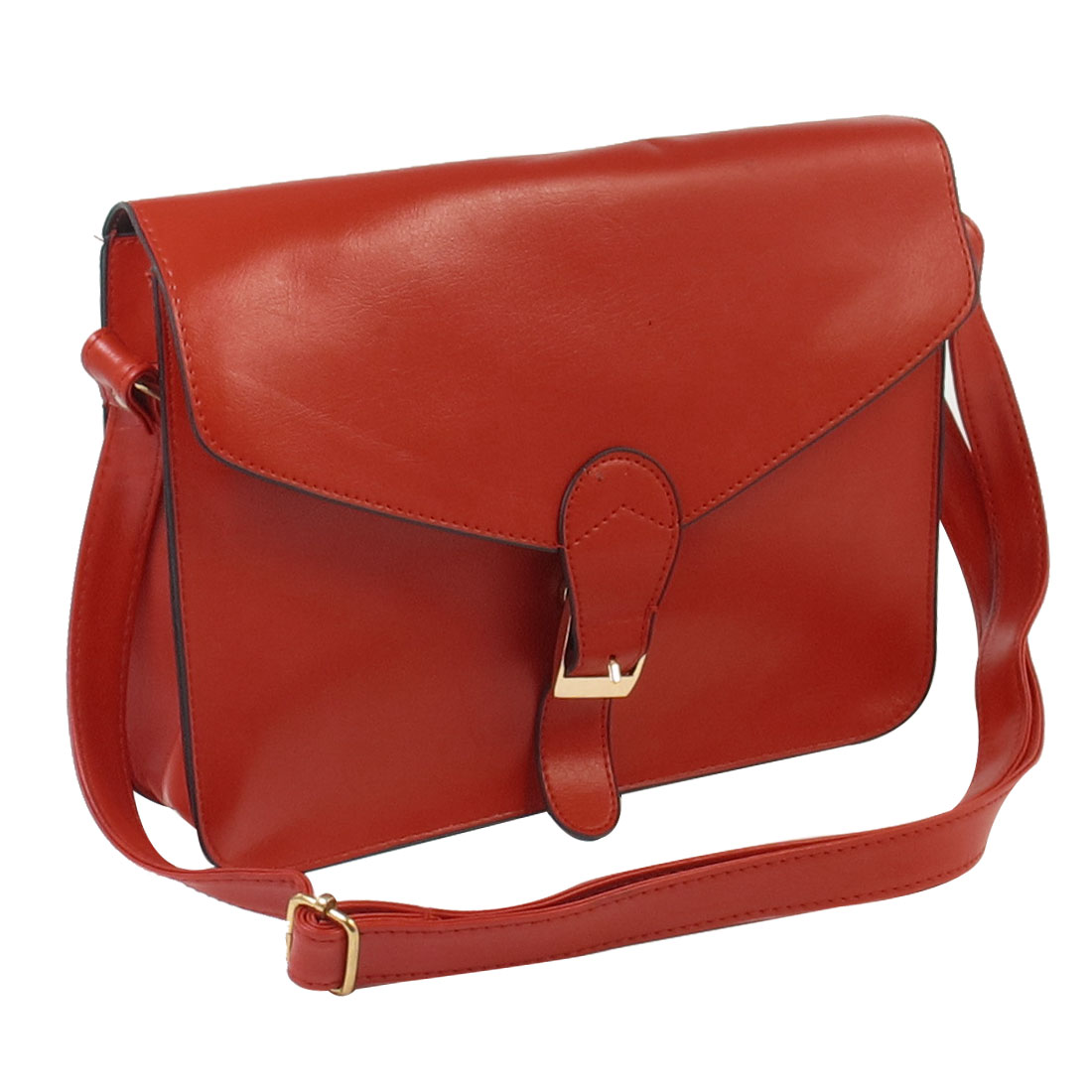 Lady Soft Faux Leather One Main Compartment Red Handbag Satchels