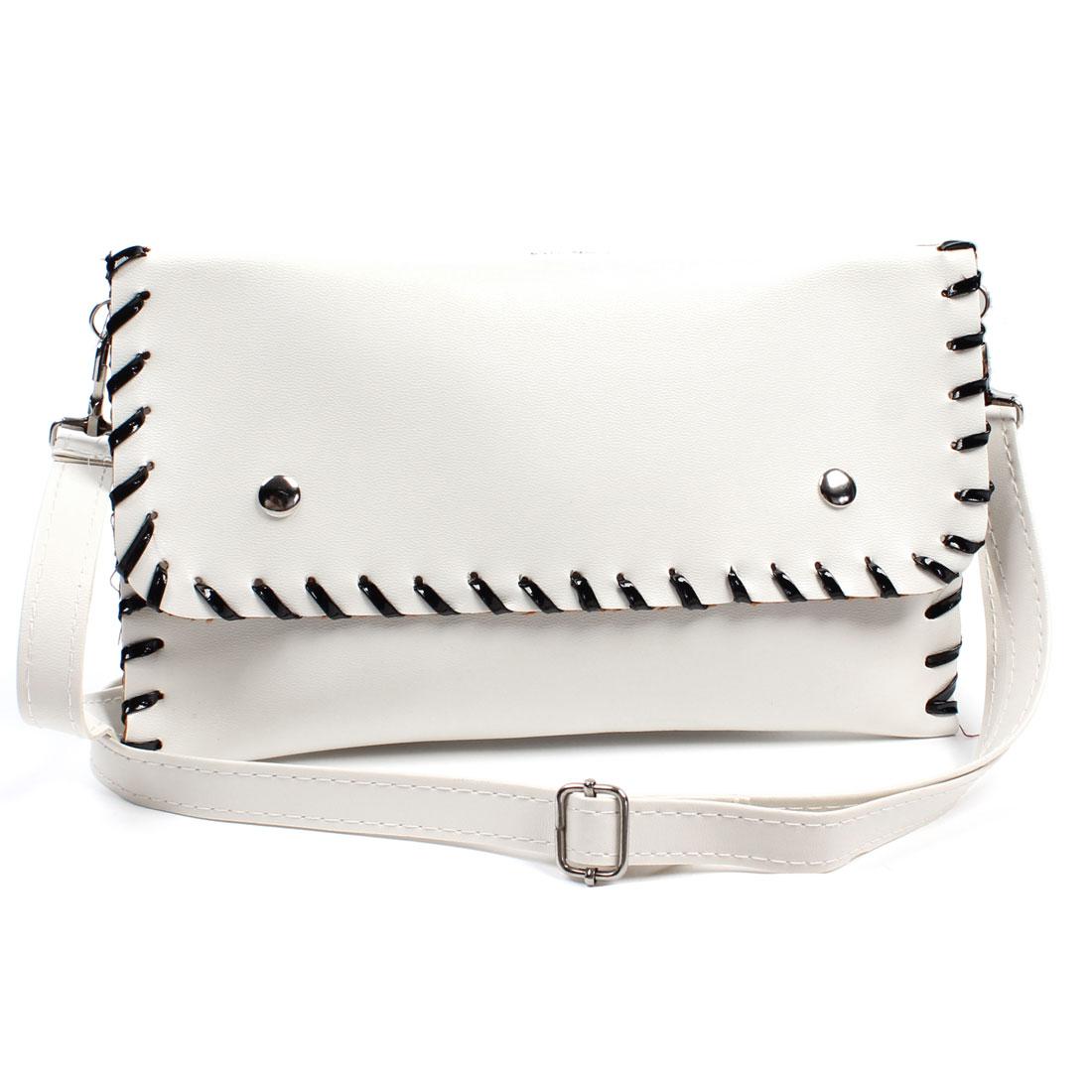 Black Faux Leather Stitched Hem Shoulder Bag Handbag Pure White for Ladies