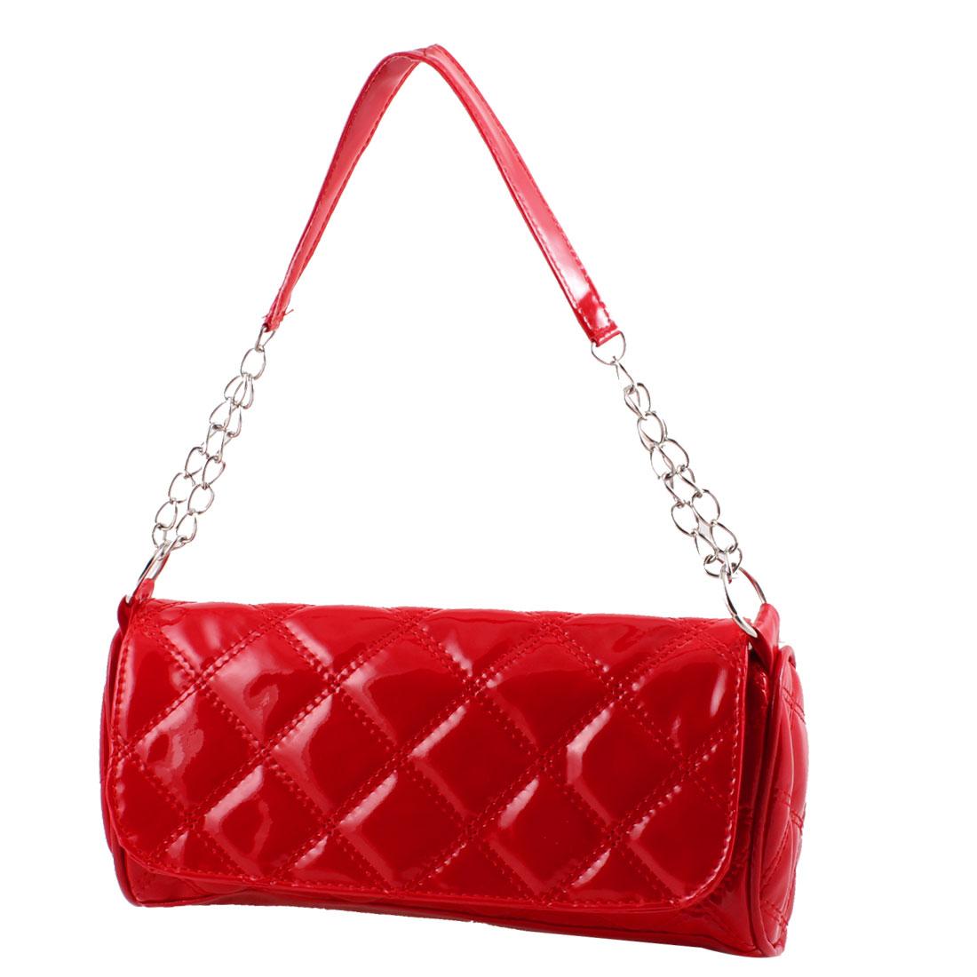 Lozenge Pattern Patent Faux Leather Shoulder Bag Handbag Red for Women