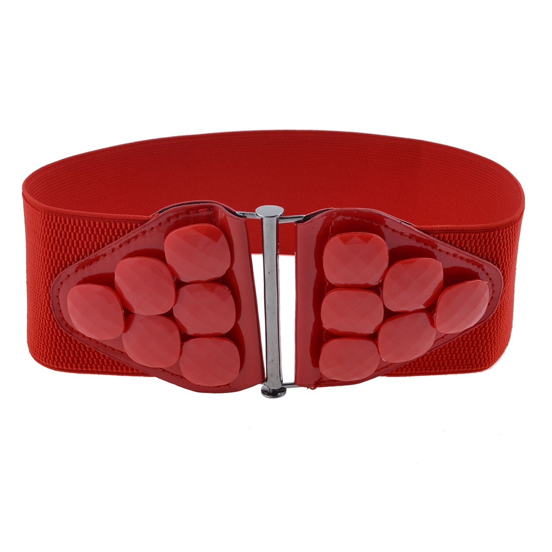Women Beads Decor Metal Interlocking Buckle Strentch Waist Cinch Belt Waistbelt Red
