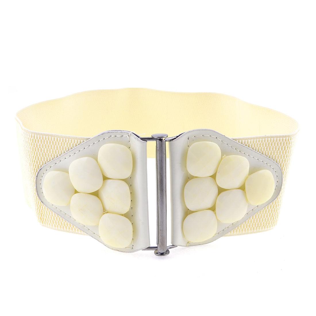 Lady Beads Decor Interlocking Buckle Strentch Waist Cinch Belt Waistbelt Off White