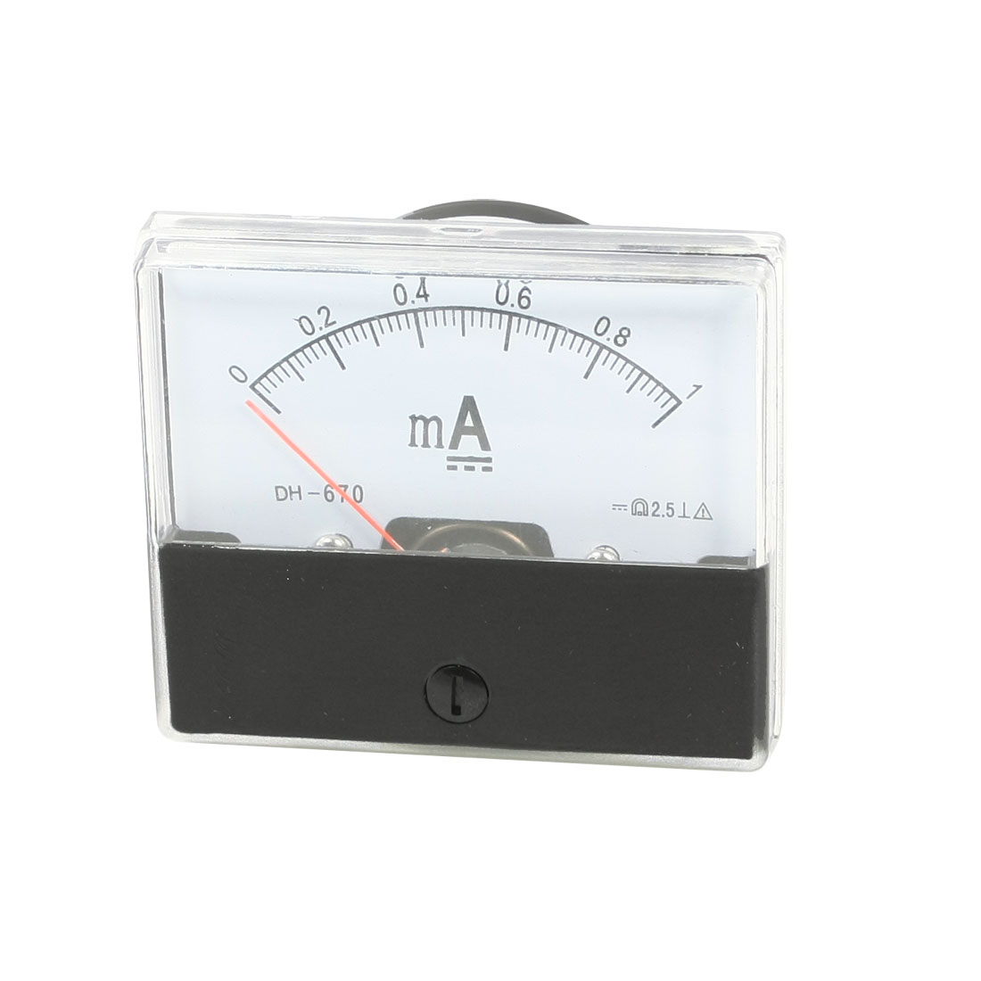 DH-670 DC 0-1mA Clear Analog Panel Meter Ammeter Gauge