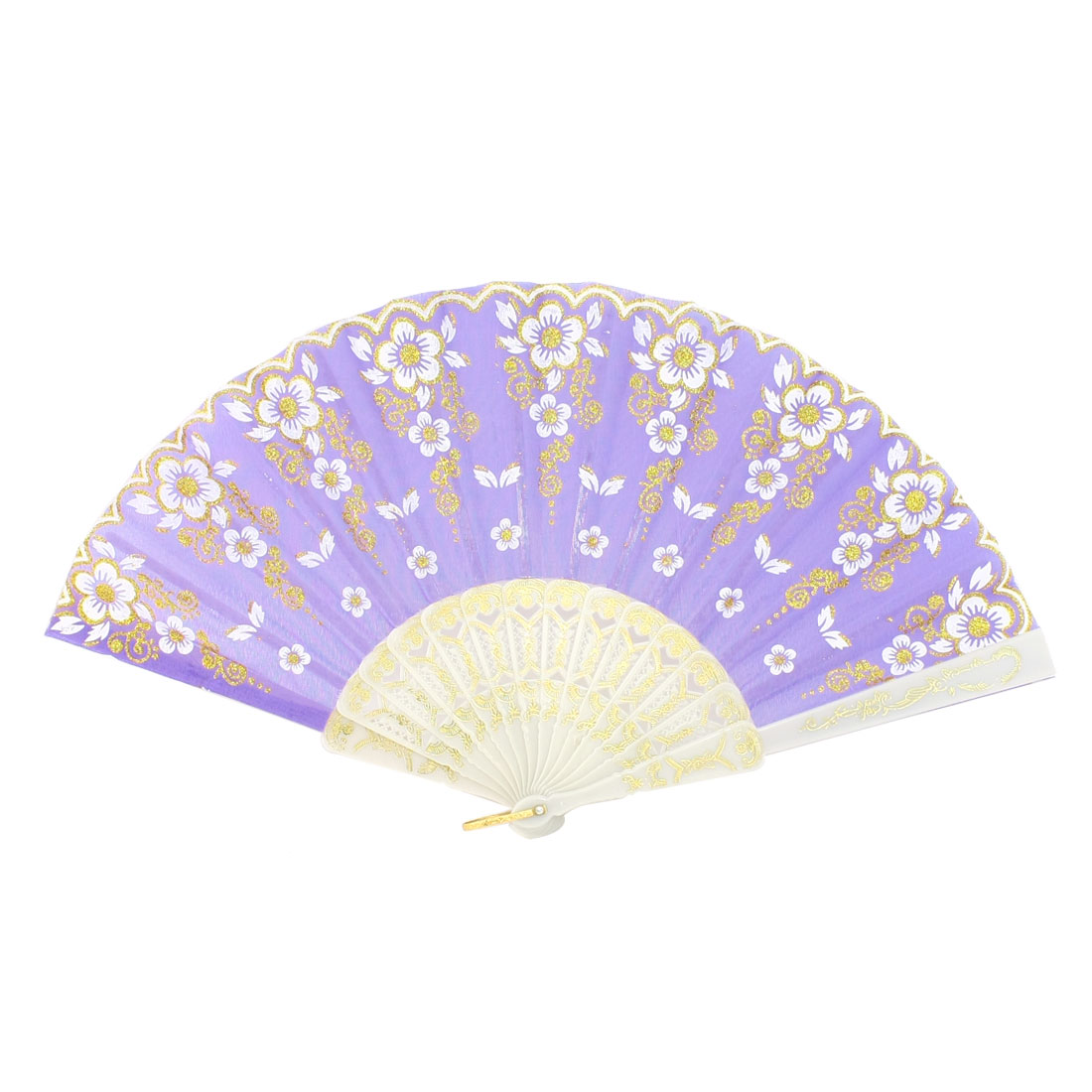 Twist Flower Pattern Purple Nylon Section Ivory Frame Hand Fan