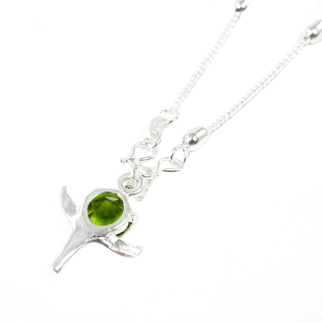 Leaves Pendant Silver Tone Metal Beads Decor Necklace for Ladies