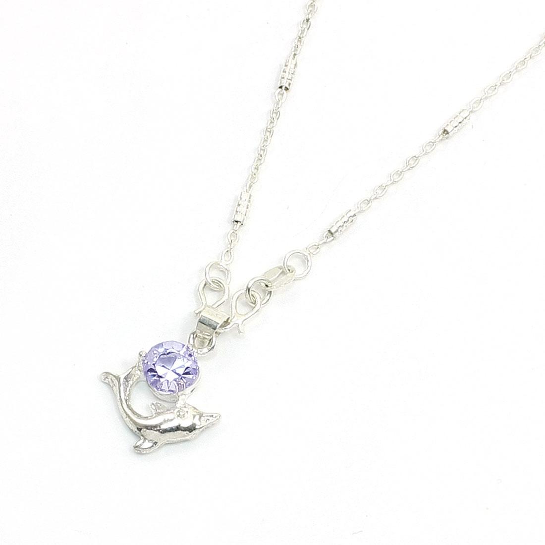 Purple Plastic Rhinestone Silver Tone Dolphin Design Necklace