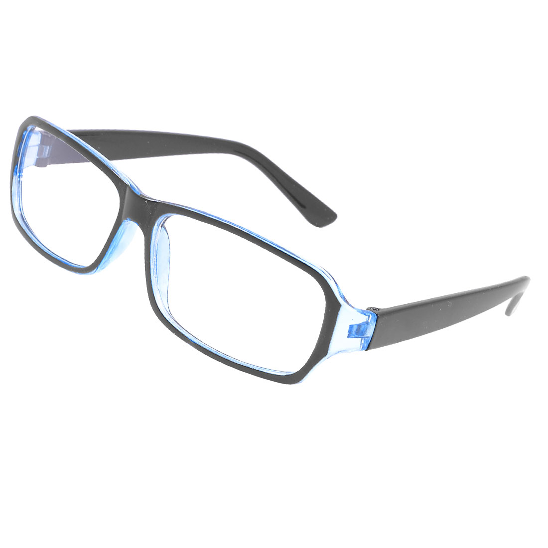 Lady Men Full Rim Frame Rectangle Lens Plain Glasses Eyeglasses Black Light Blue