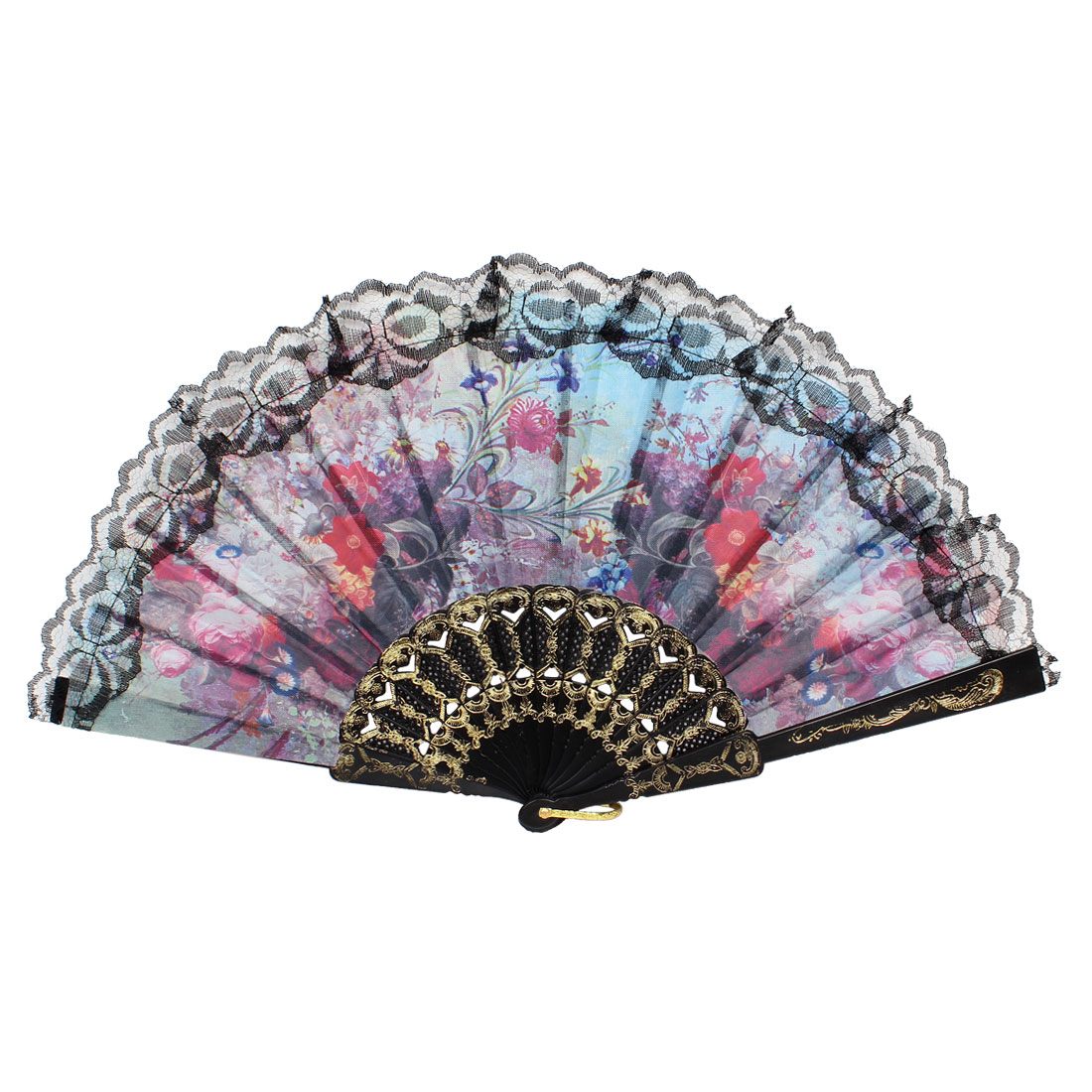 Plastic Ribs Fabric Leavies Flower Pattern Folding Fan