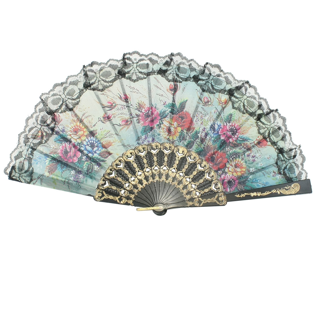 Peony Flower Pattern Section Black Frame U Ring Hanger Hand Fan