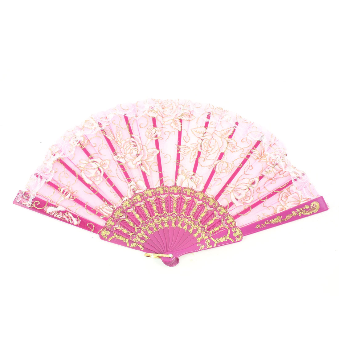 Rose Pattern Organza Section Gold Tone Stamp Magenta Frame Folding Fan