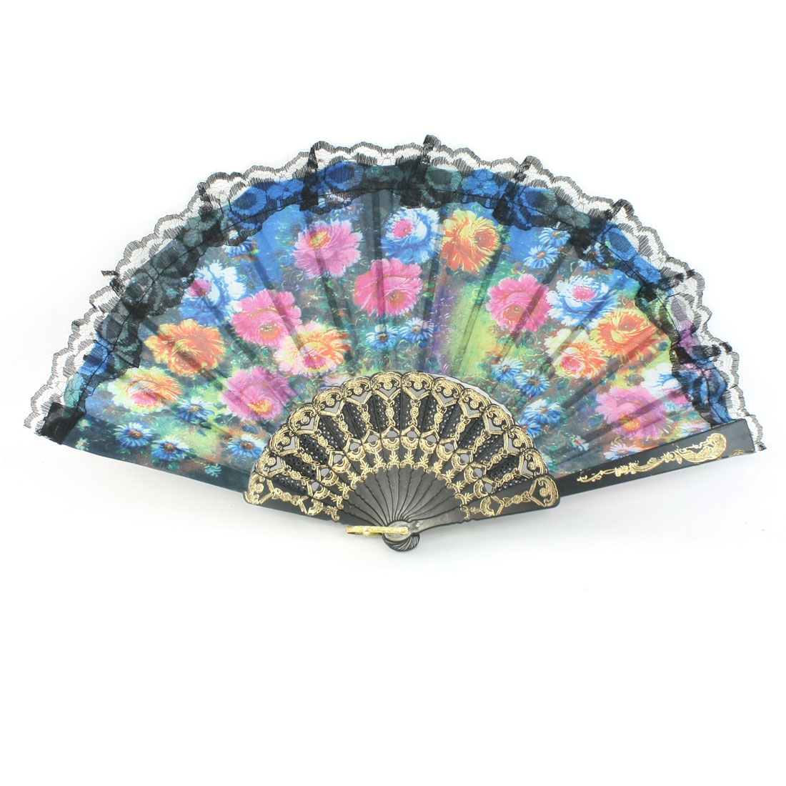 Magenta Yellow Blue Flower Print Nylon Section Folding Hand Fan