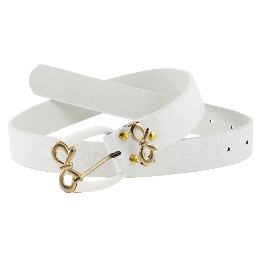 Lady Single Prong Buckle Faux Leather Adjustable Waist Belt 3.5cm Wide Off White