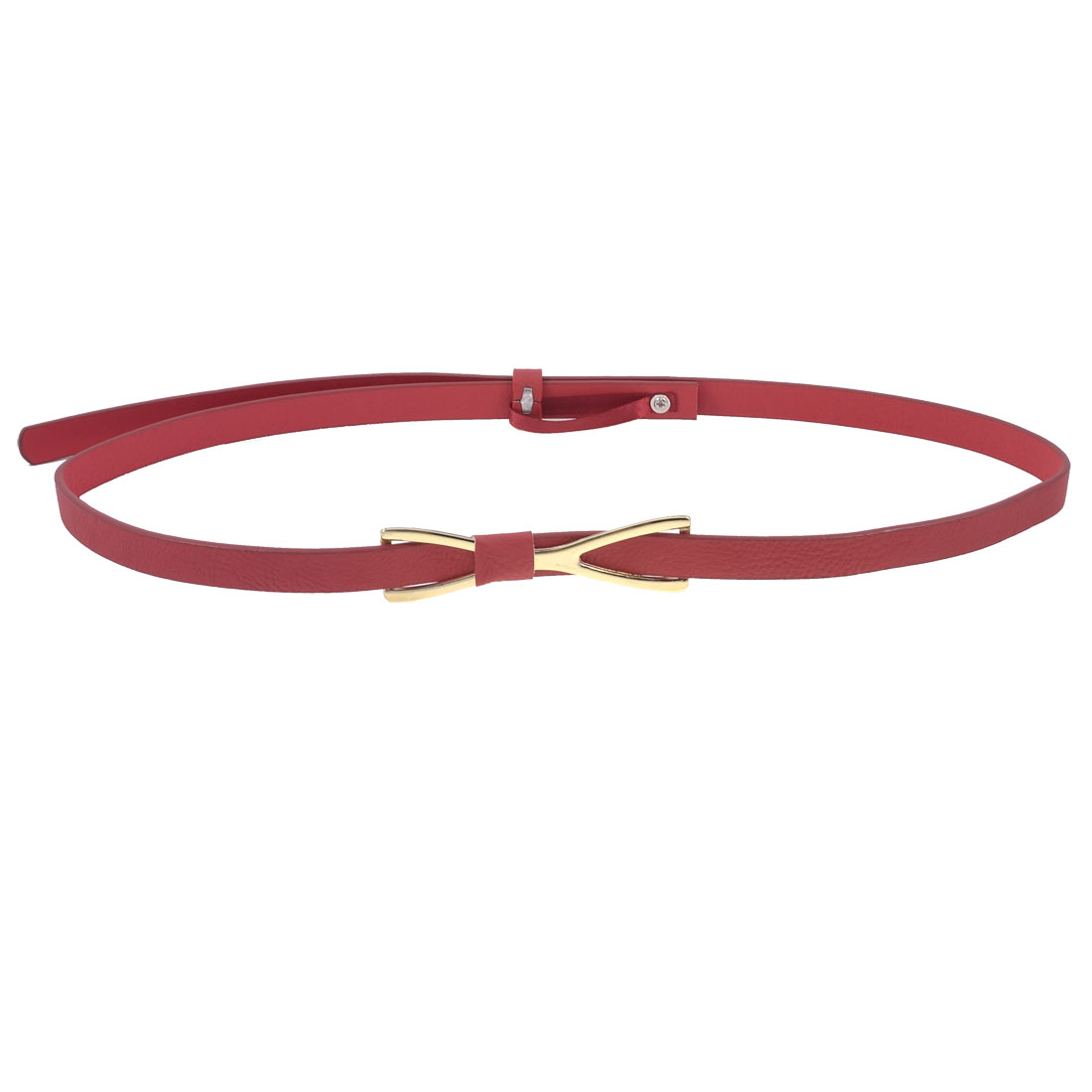 Women Red Gold Tone Press Buckle Bow Tie Detail Faux Leather Skinny Waist Belt