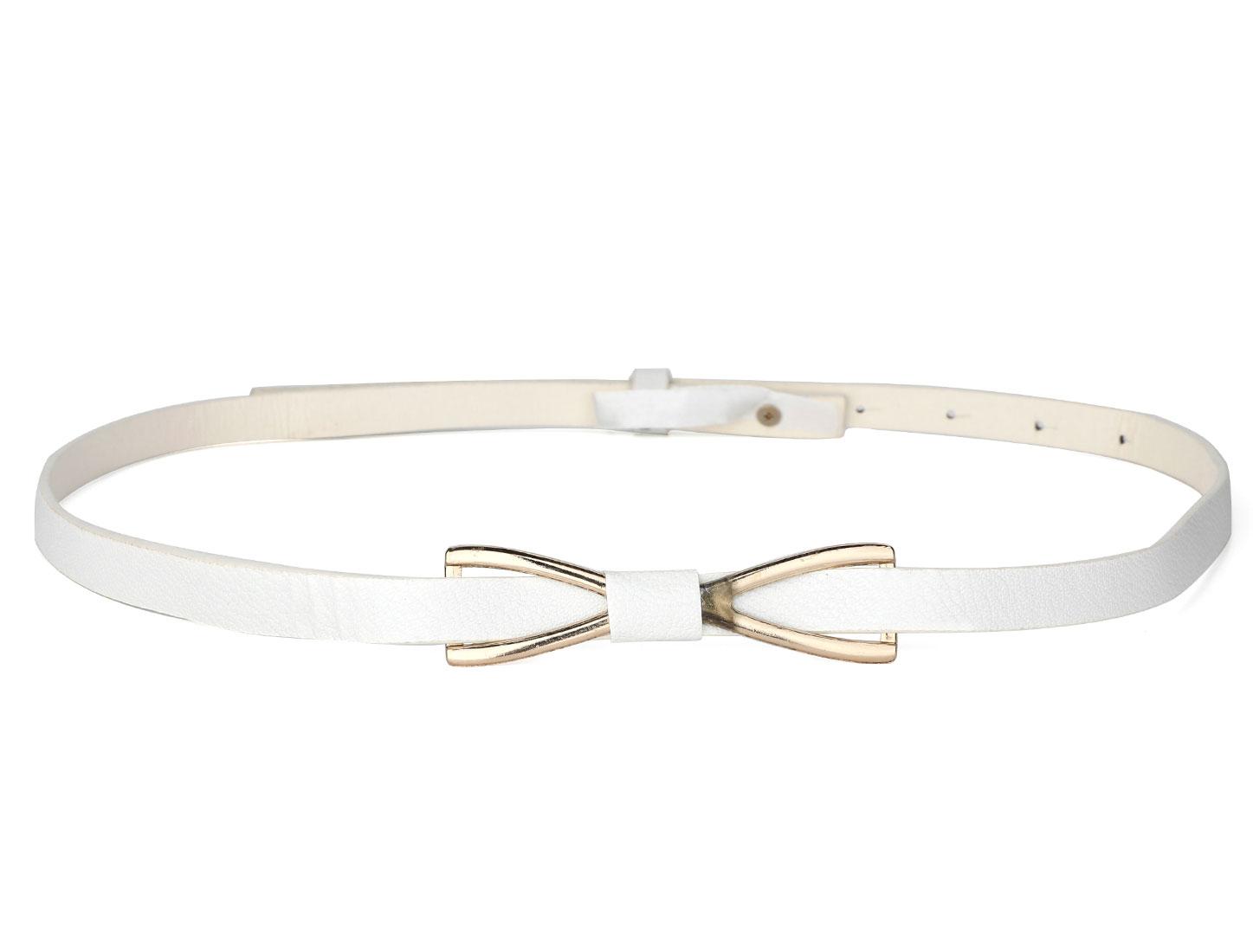 Women Press Buckle Metallic Bowknot Decor Faux Leather Skinny Waist Belt White