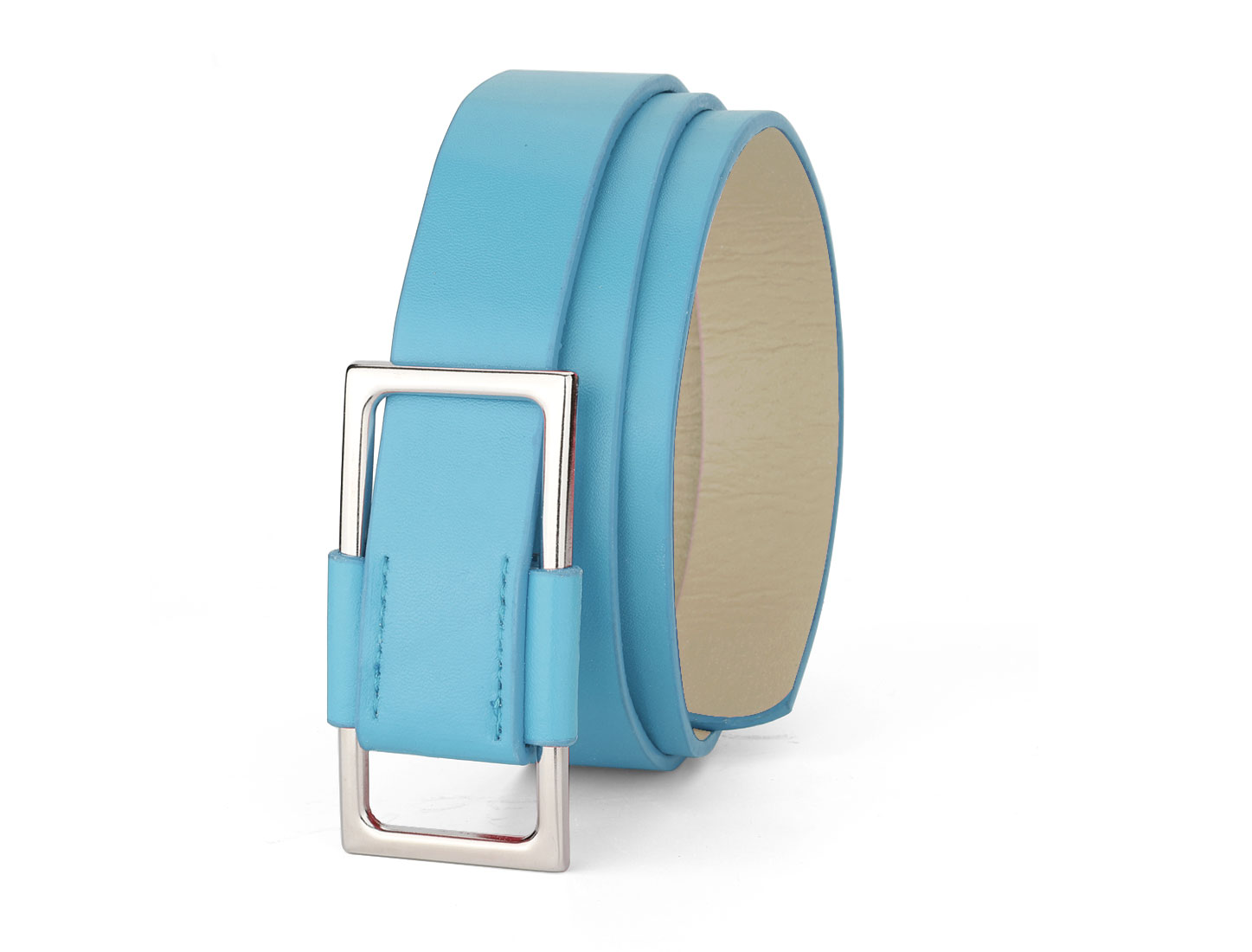 Ladies Rectangle Metal Silde Buckle Light Blue Faux Leather Waist Belt