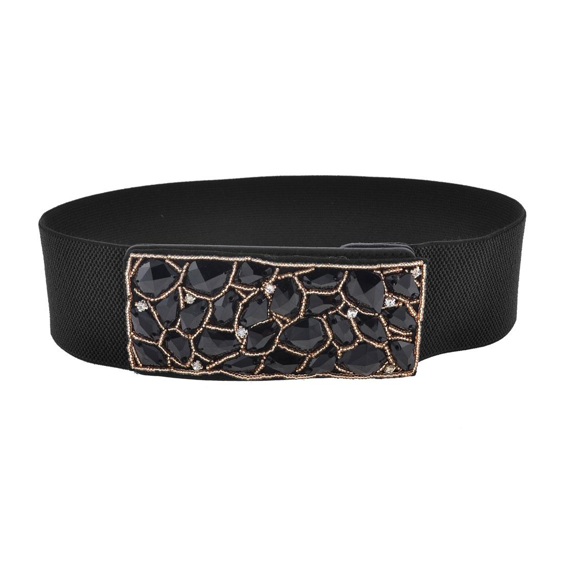 Lady Black Elastic Band Faux Rhinestone Decor Press Stud Buckle Waist Cinch Belt