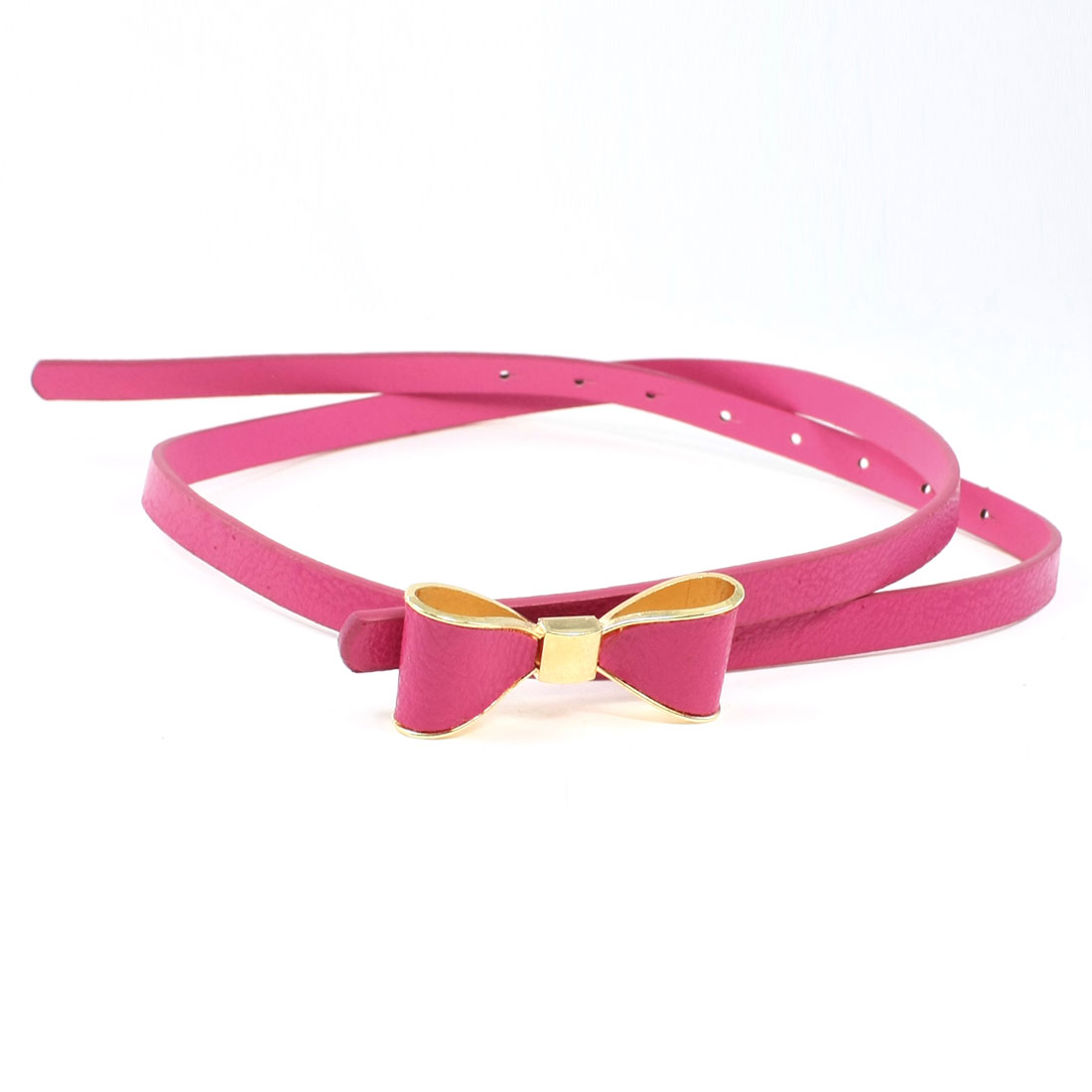 Lady Faux Leather Bowknot Gold Tone Buckle Adjustable Fuchsia Slim Band Belt