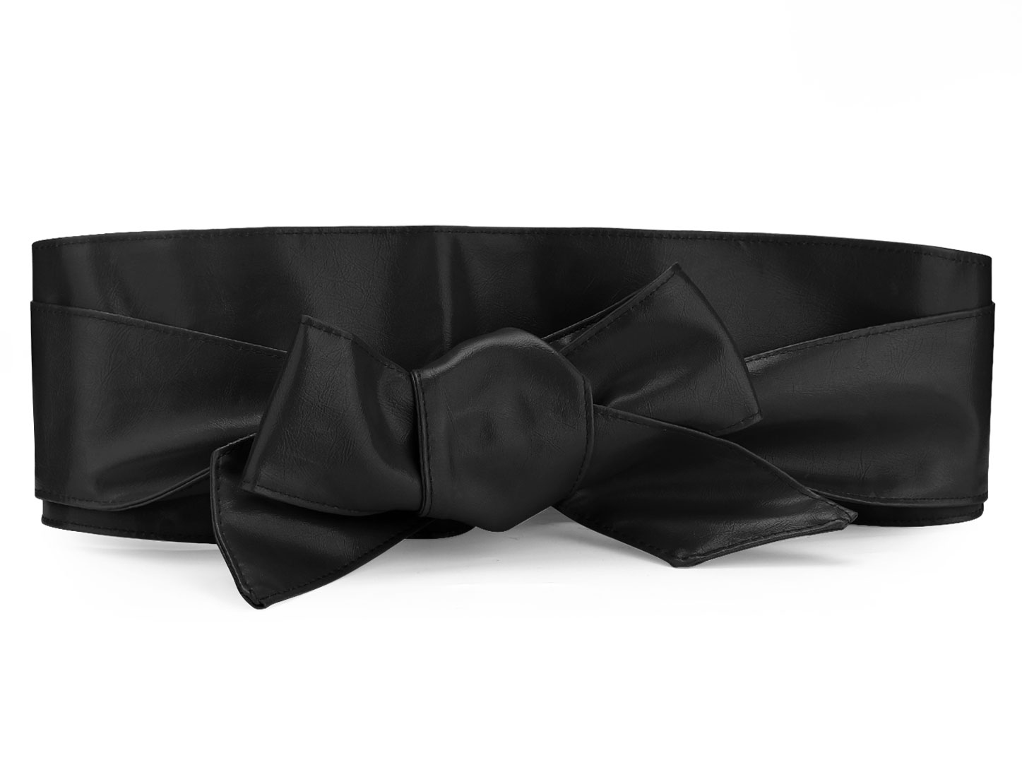 Ladies Black Faux Leather Self Tie Bowknot Wide Waist Band Sash Obi Belt