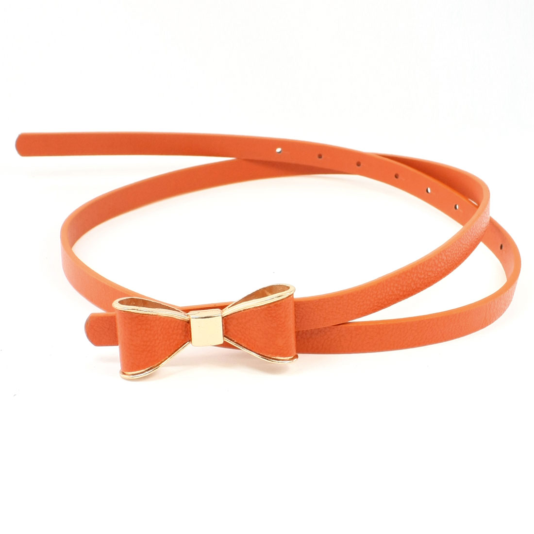 Bow Tie Press Buckle 8 Perforated Holes Faux Leather Belt Orange for Lady