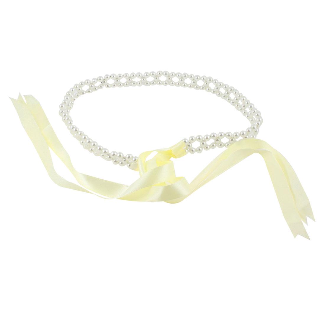 2cm Width Faux Pearl Chain Self Tie Waist Belt Off White