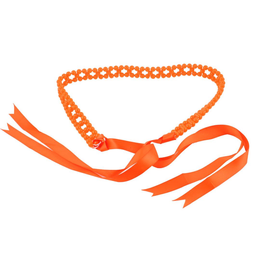 Lady Woman Faux Pearl Self Tie Waist Belt Orange Red