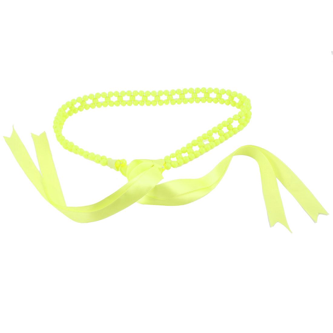 2cm Wide Faux Pearl Chain Self Tie Waist Belt Yellow