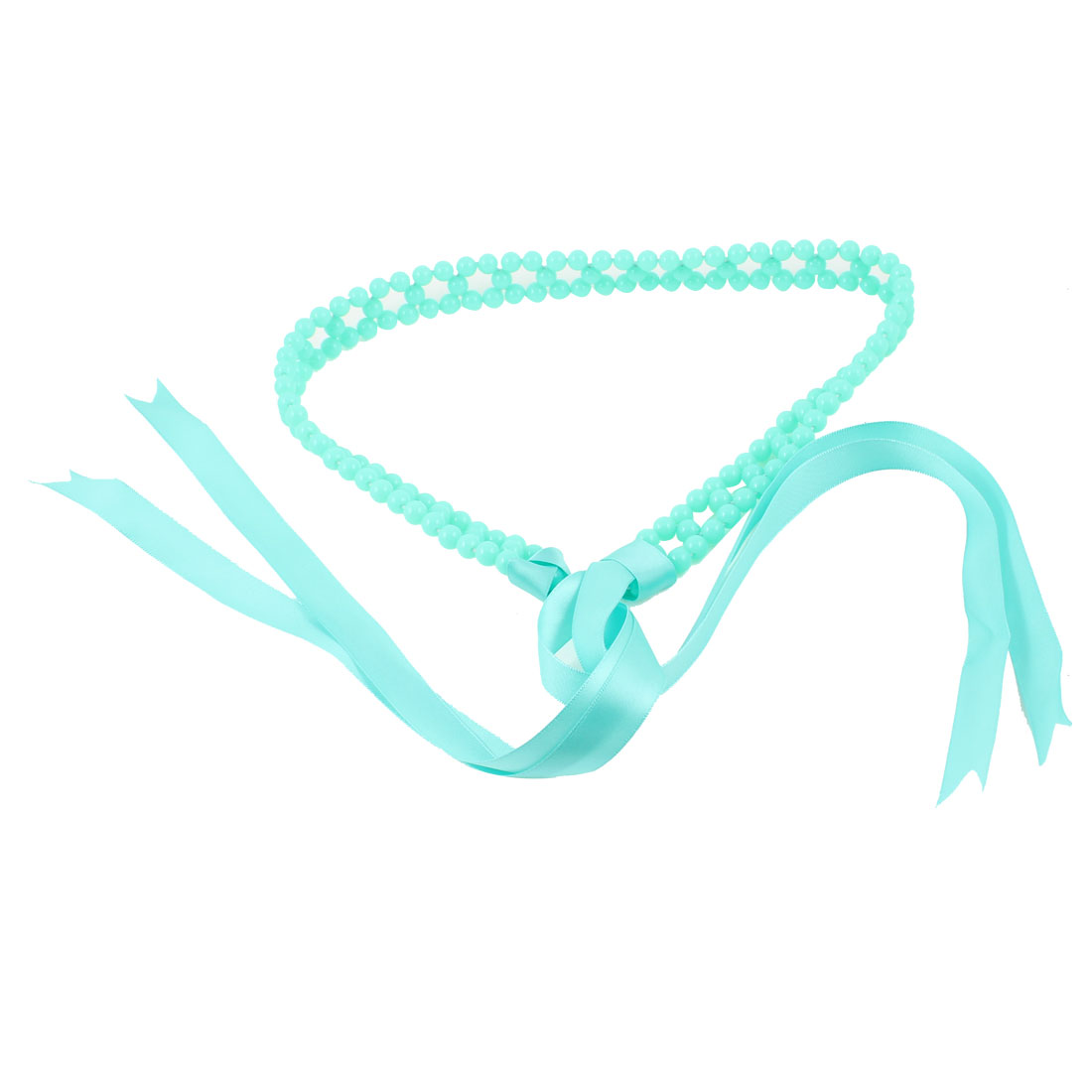 Plastic Round Pearl Chain Self Tie Waist Belt Light Blue for Lady