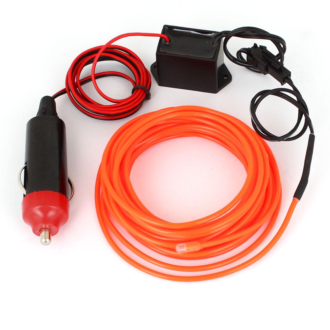 5 Meter EL Wire Vehicle Van Truck Neon Orange Red Glow Light w 1M Car Charger