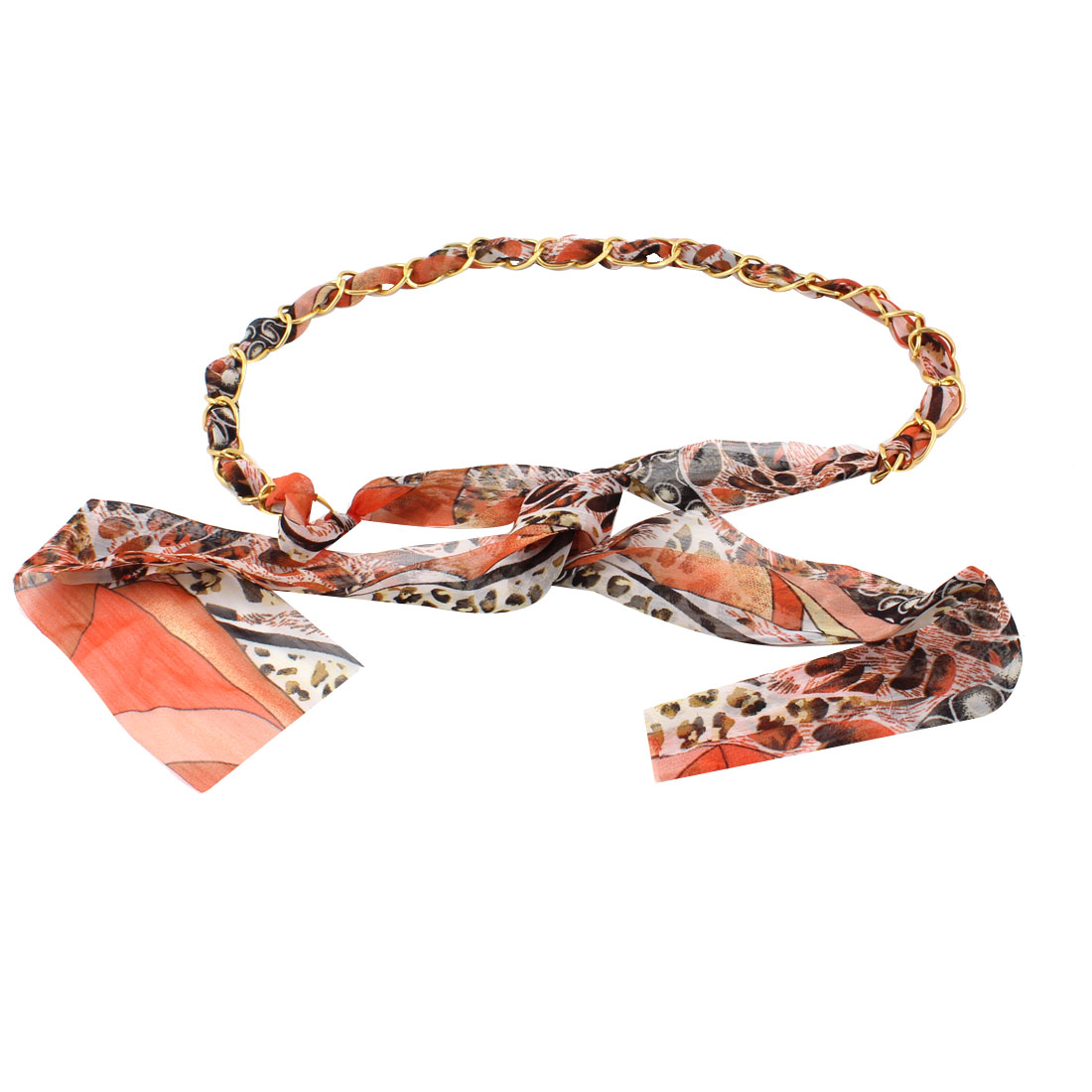 Ladies Gold Tone Chain Tri Color Leopard Pattern Chiffon Self Tie Belt