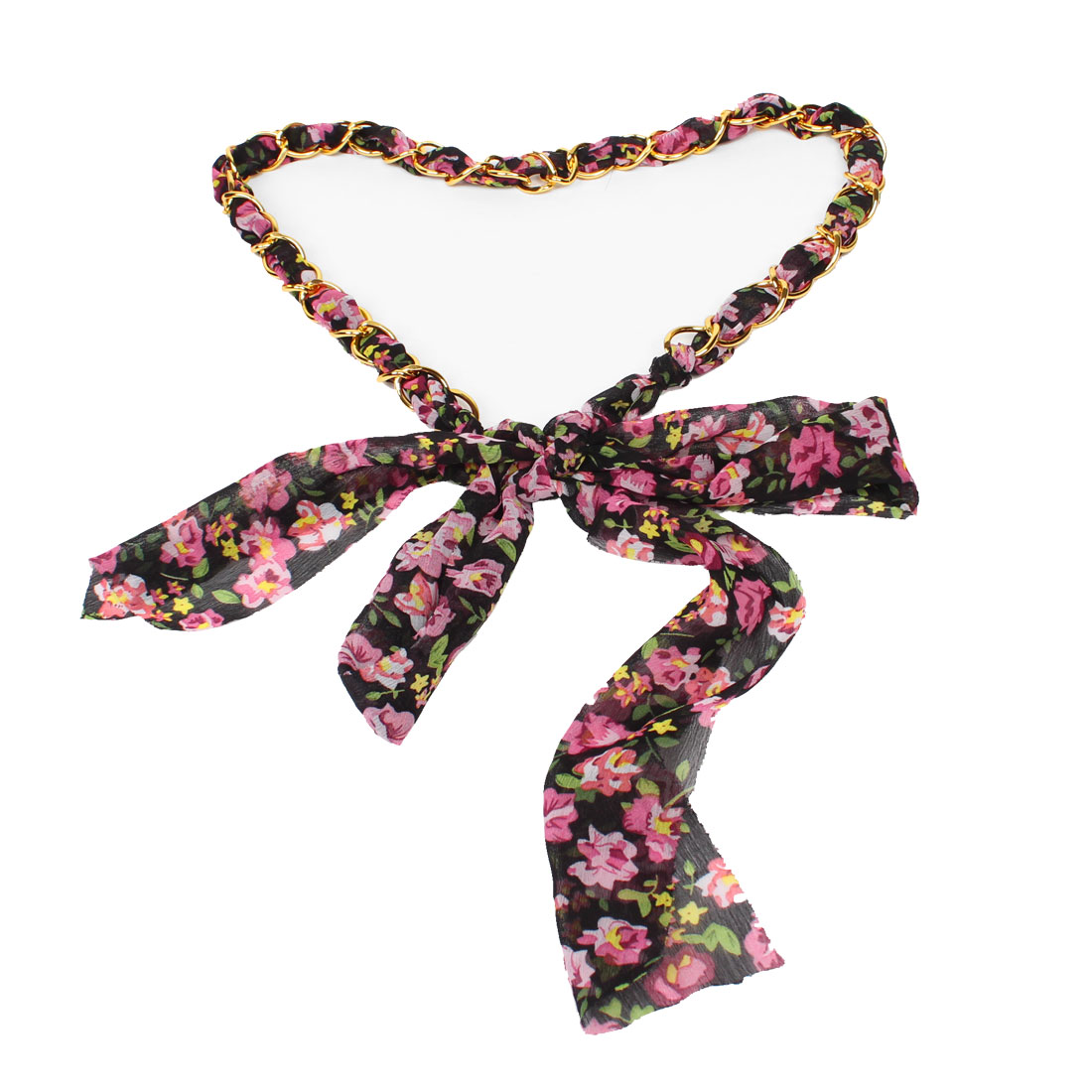 Ladies Gold Tone Chain Black Green Pink Floral Pattern Chiffon Self Tie Belt