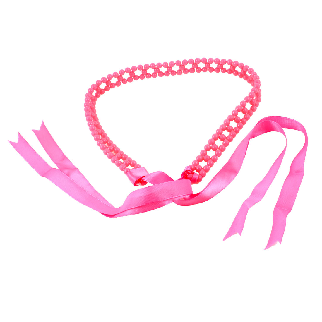 2cm Wide Faux Pearl Chain Self Tie Waist Belt Fuchsia