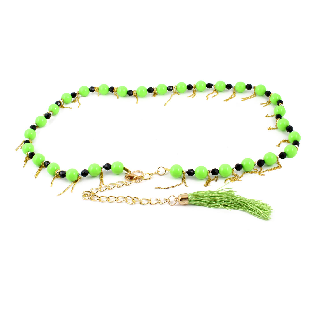 Lobster Clasp Plastic 14mm Bead Dia Decor Adjustable Chain Waist Belt Band Green