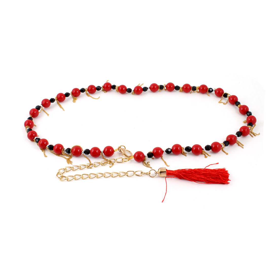 Woman Lobster Clasp Plastic Beads Decor Adjustable Chain Waist Belt Band Red