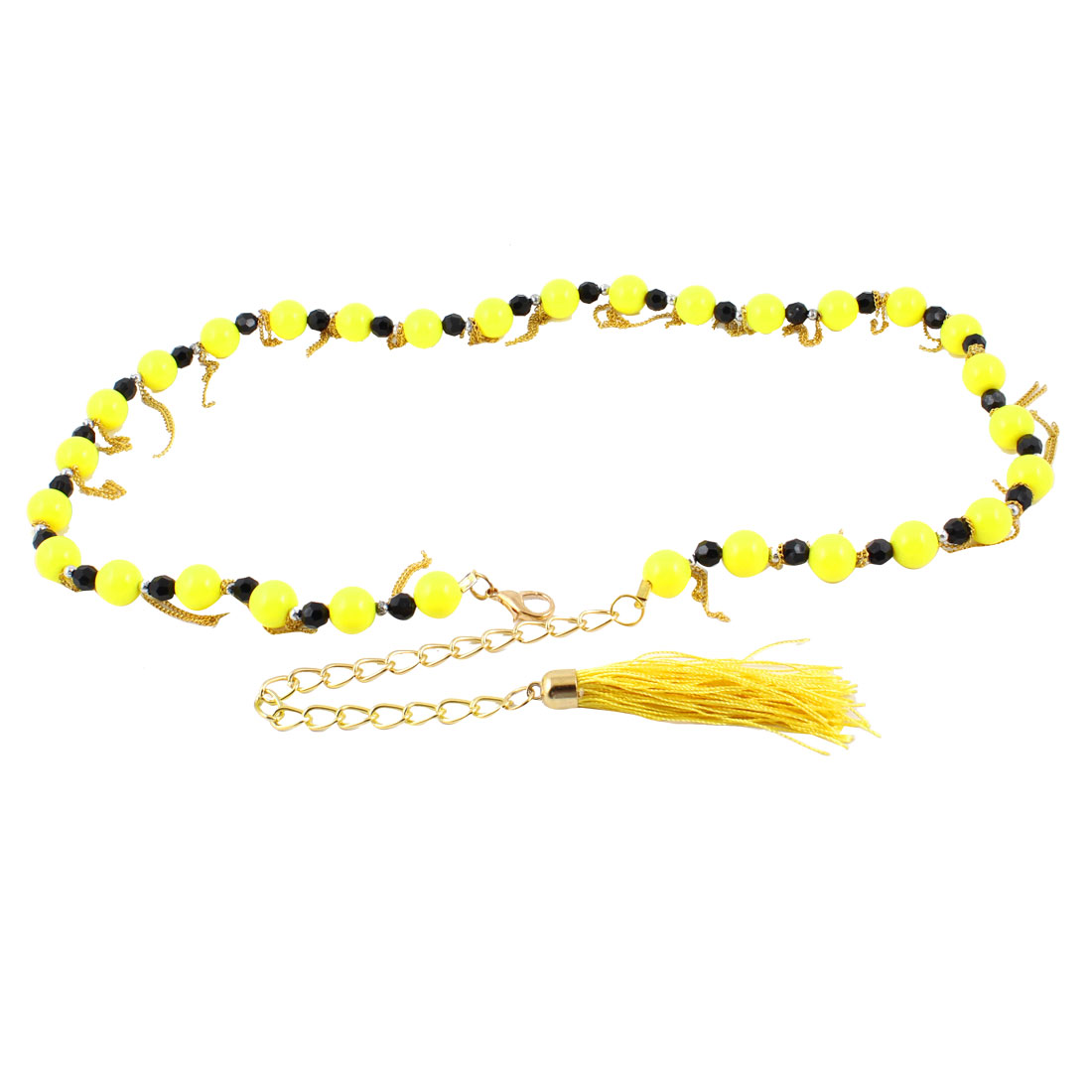 Woman Lobster Clasp Plastic Beads Decor Adjustable Chain Waist Belt Band Yellow
