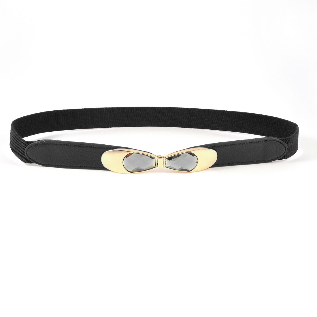 Glear Grey Polyhedral Crystal Inlaid Buckle Black Stretch Textured Cinch Belt