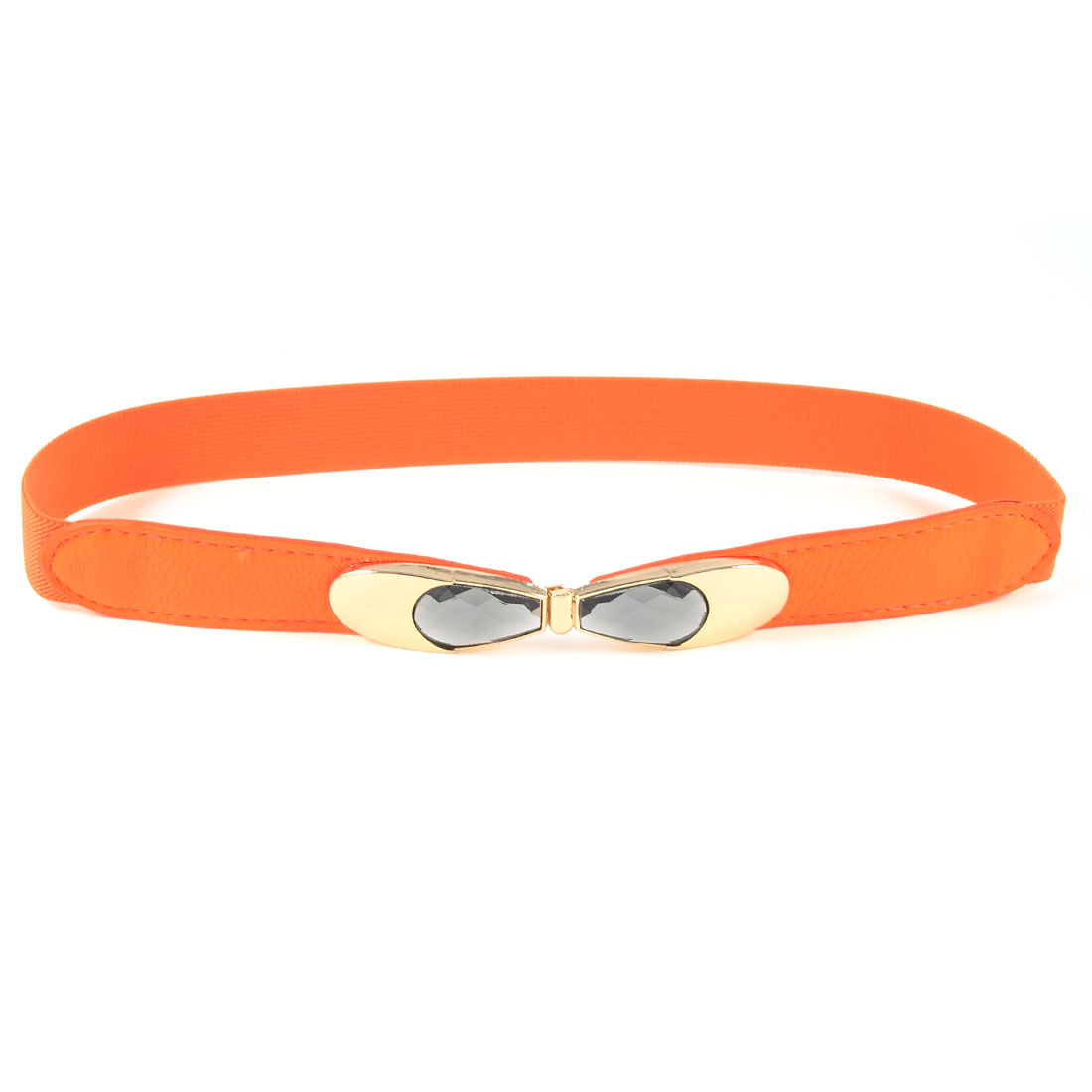 Gold Tone Bowtie Shape Interlock Buckle Elastic Band Waist Belt Orange for Lady