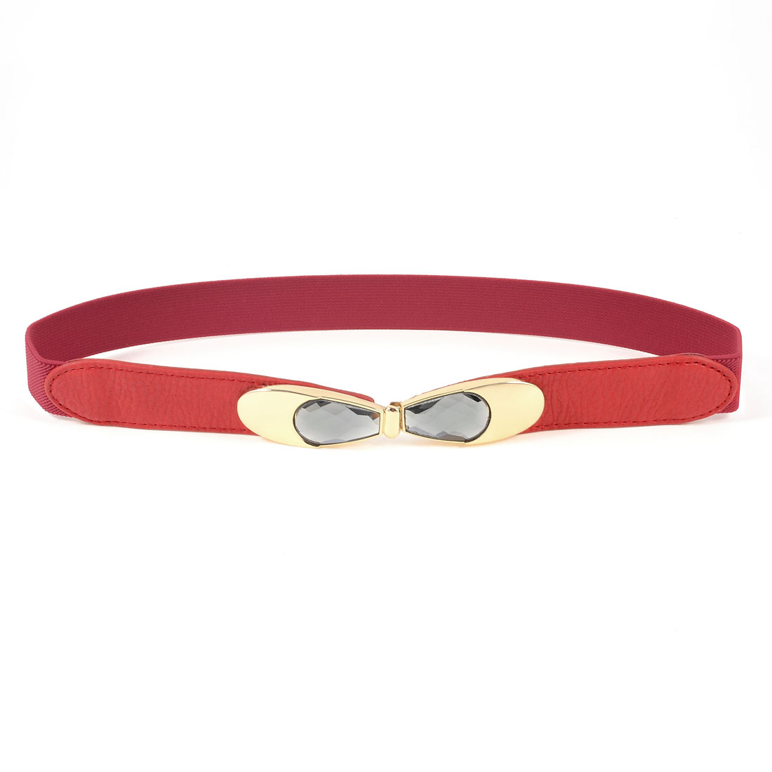 Gold Tone Bowtie Buckle Red Stretch Textured Cinch Belt Dress Ornament for Women