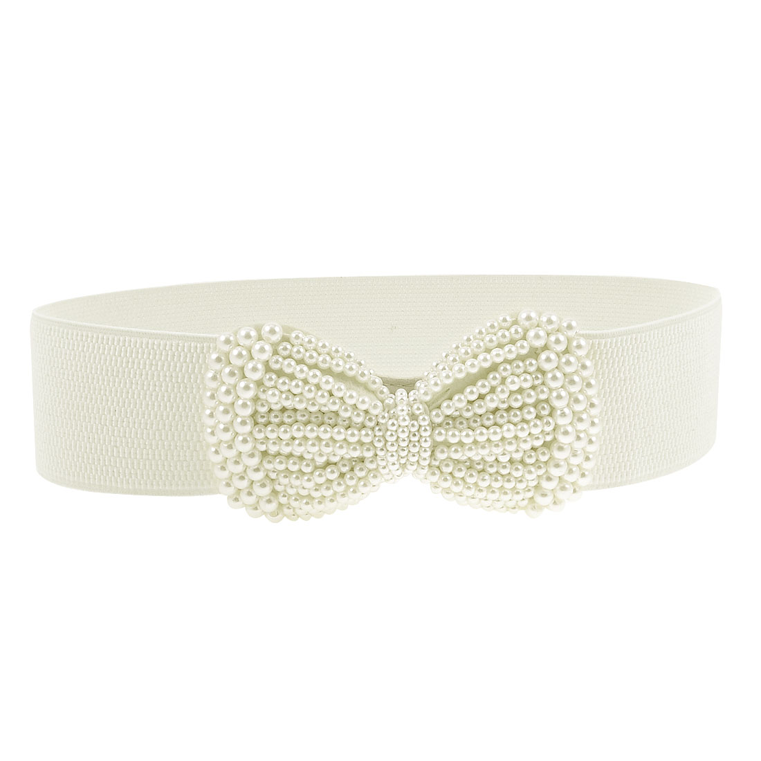 Ladies Faux Pearl Butterfly Knot Press Stud Button Elastic Waist Belt Beige Ivory