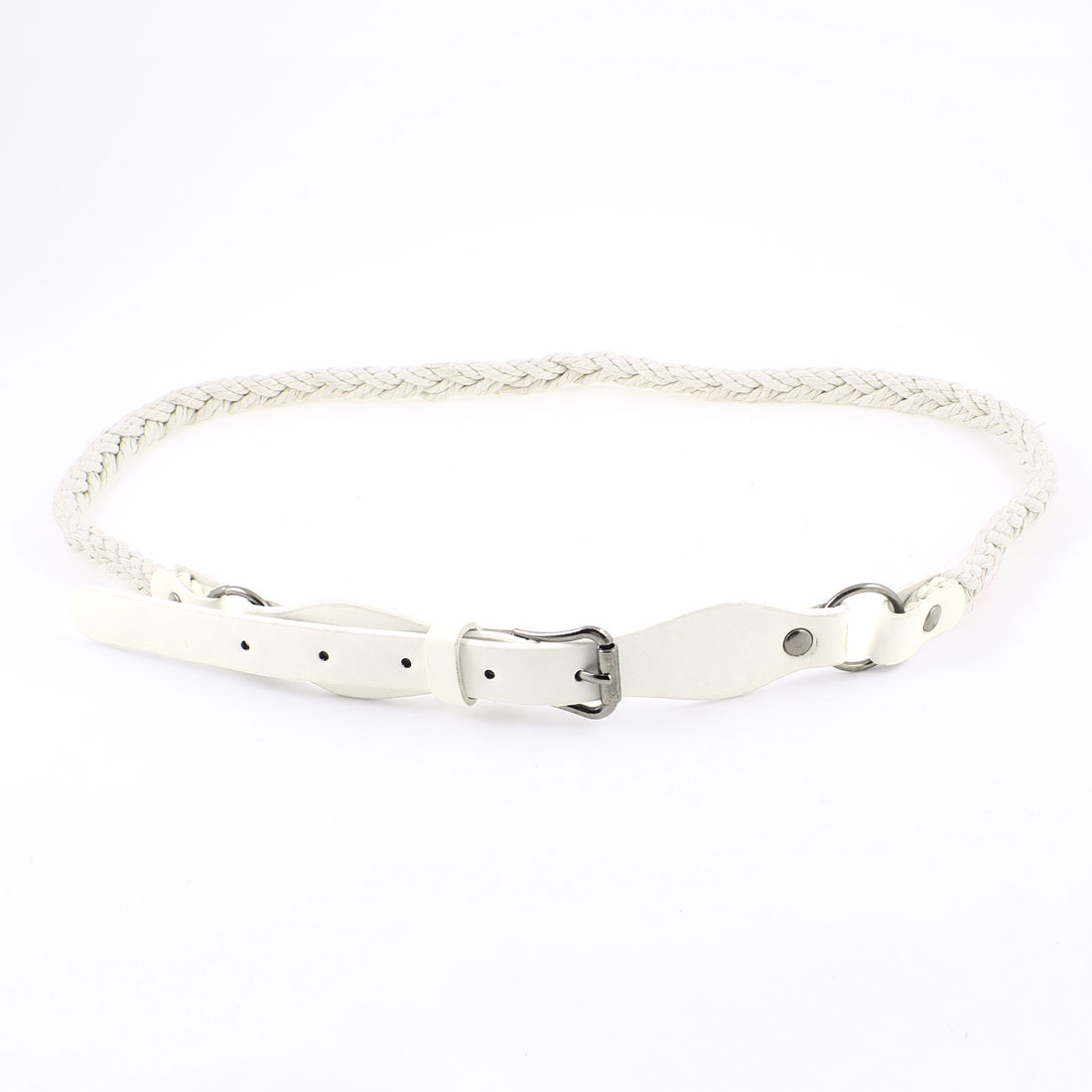 Woman Single Pin Closure Perforated Faux Leather Skinny Braided Belt Off White