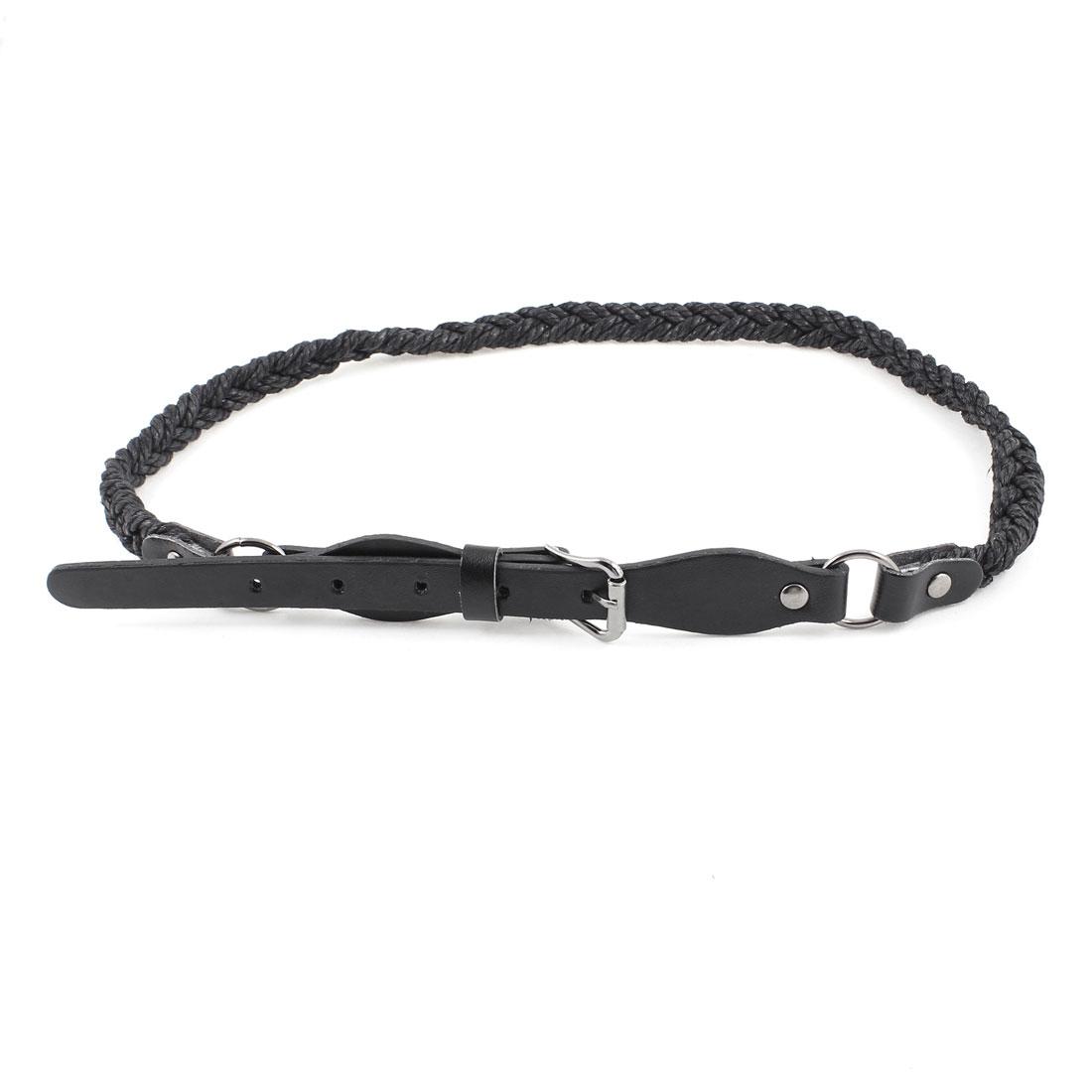 Women Single Prong Buckle Faux Leather Braided Skinny Waist Belt Black
