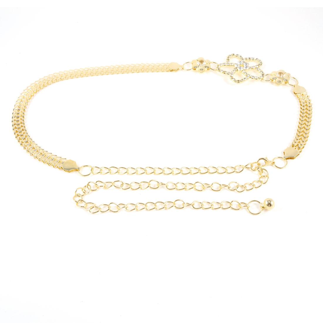 Women Glitter Rhinestone Detailed Flower Metal Waist Chain Belt Gold Tone