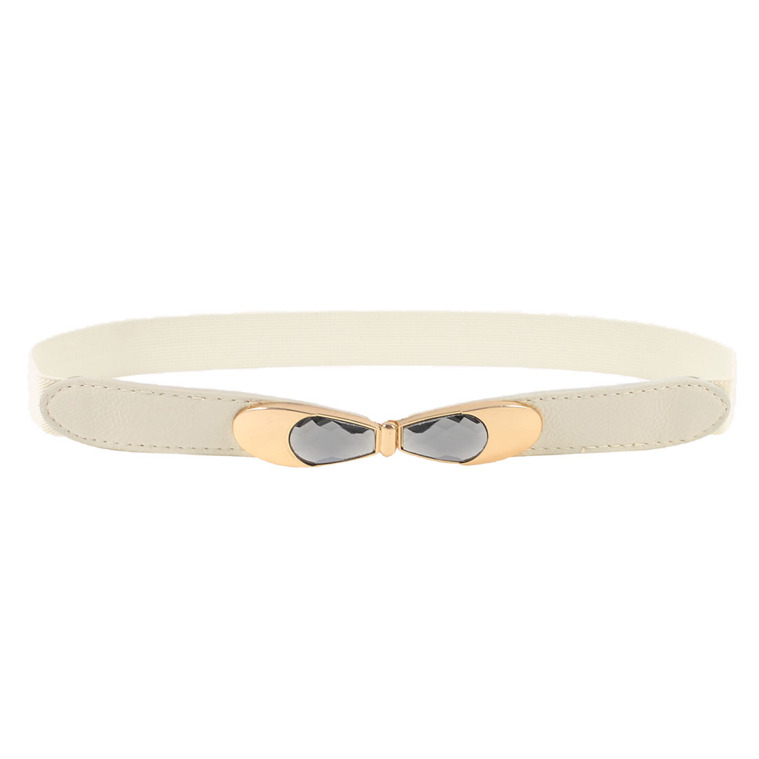 Woman White Litchi Faux Leather Buckle Part 2.5cm Wide Stretchy Band Cinch Belt